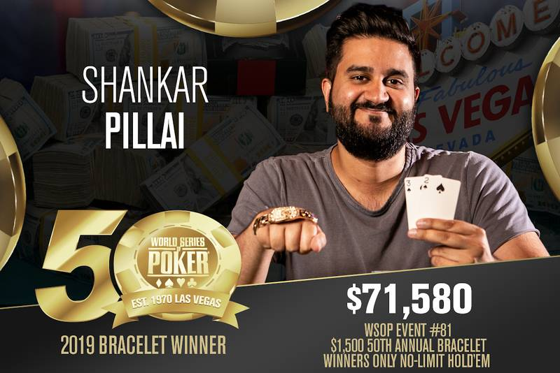 Shankar Pillai won his second bracelet