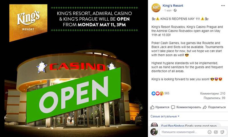 Kings Casino reopens on May 11
